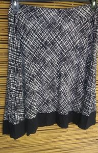 LOFT Black White Streaked Plaid Stretch Skirt Sz L
